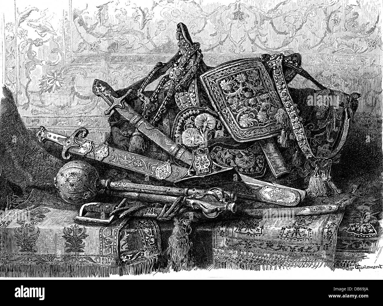 military, weapons and armament, belt, riding equipment and weapons, circa 18th century, wood engraving after painting - Stock Image