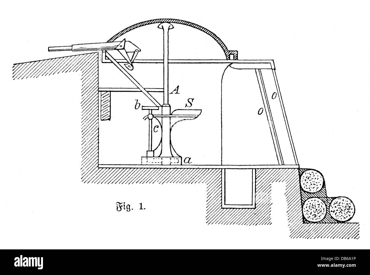 military, machinery of war, cross section of an armoured turret with rapid fire gun, installed in a trench, wood - Stock Image