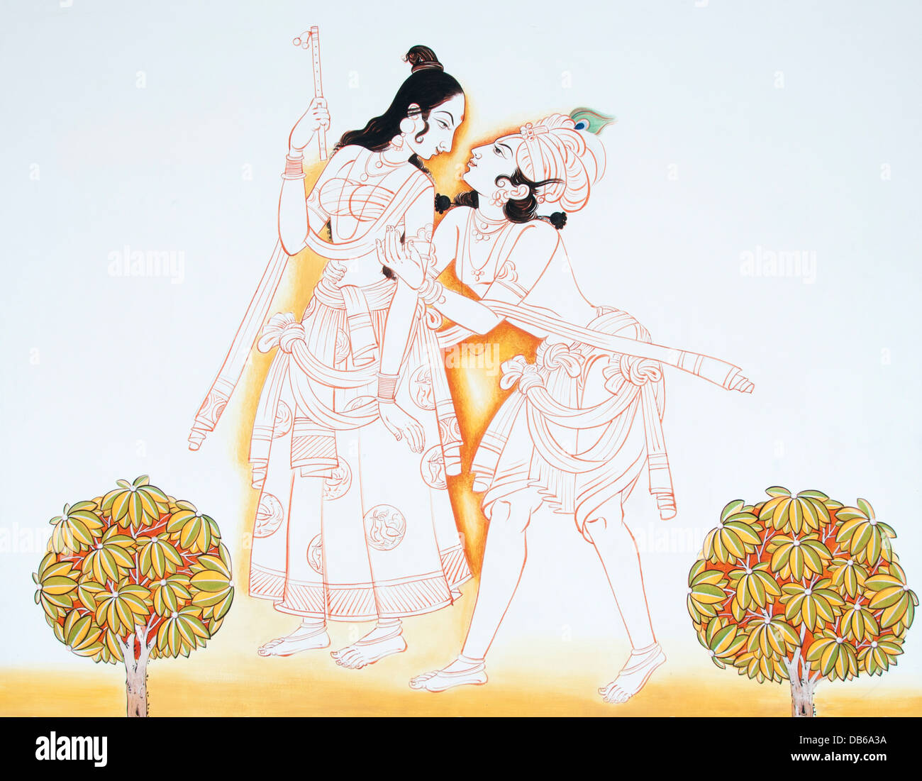 God Krishna embracing his devotee Radha - Stock Image