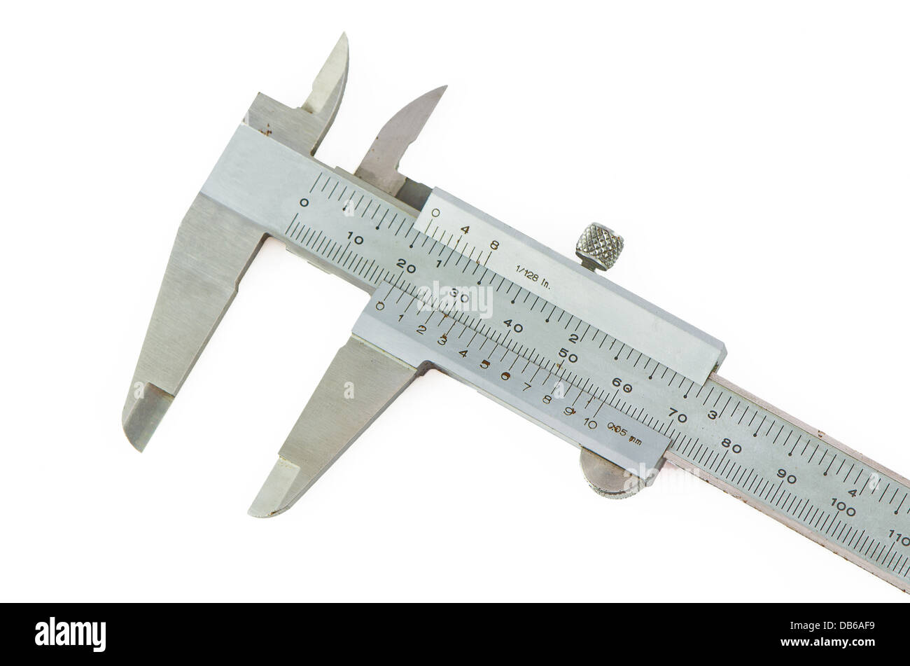 vernier caliper showing 2 centimeters against white background - Stock Image