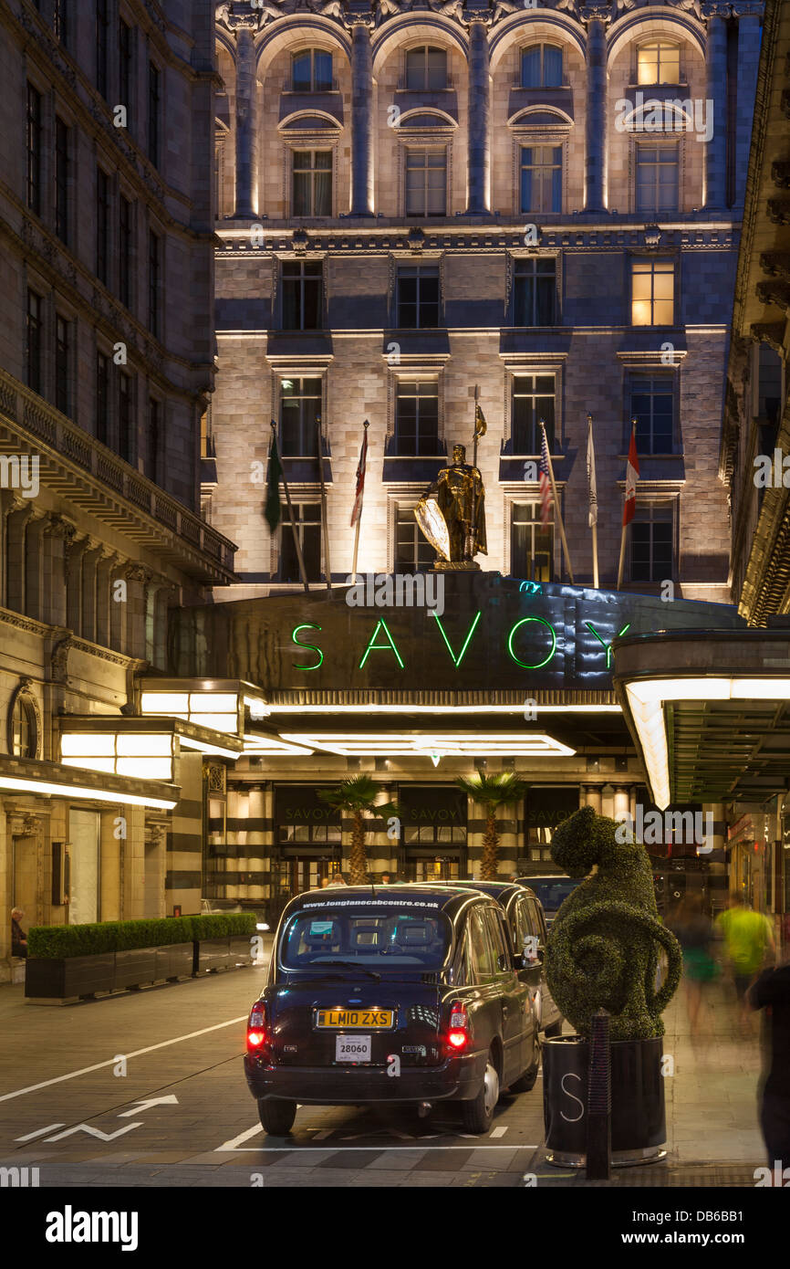The Savoy Hotel at night,The Strand,London,England - Stock Image