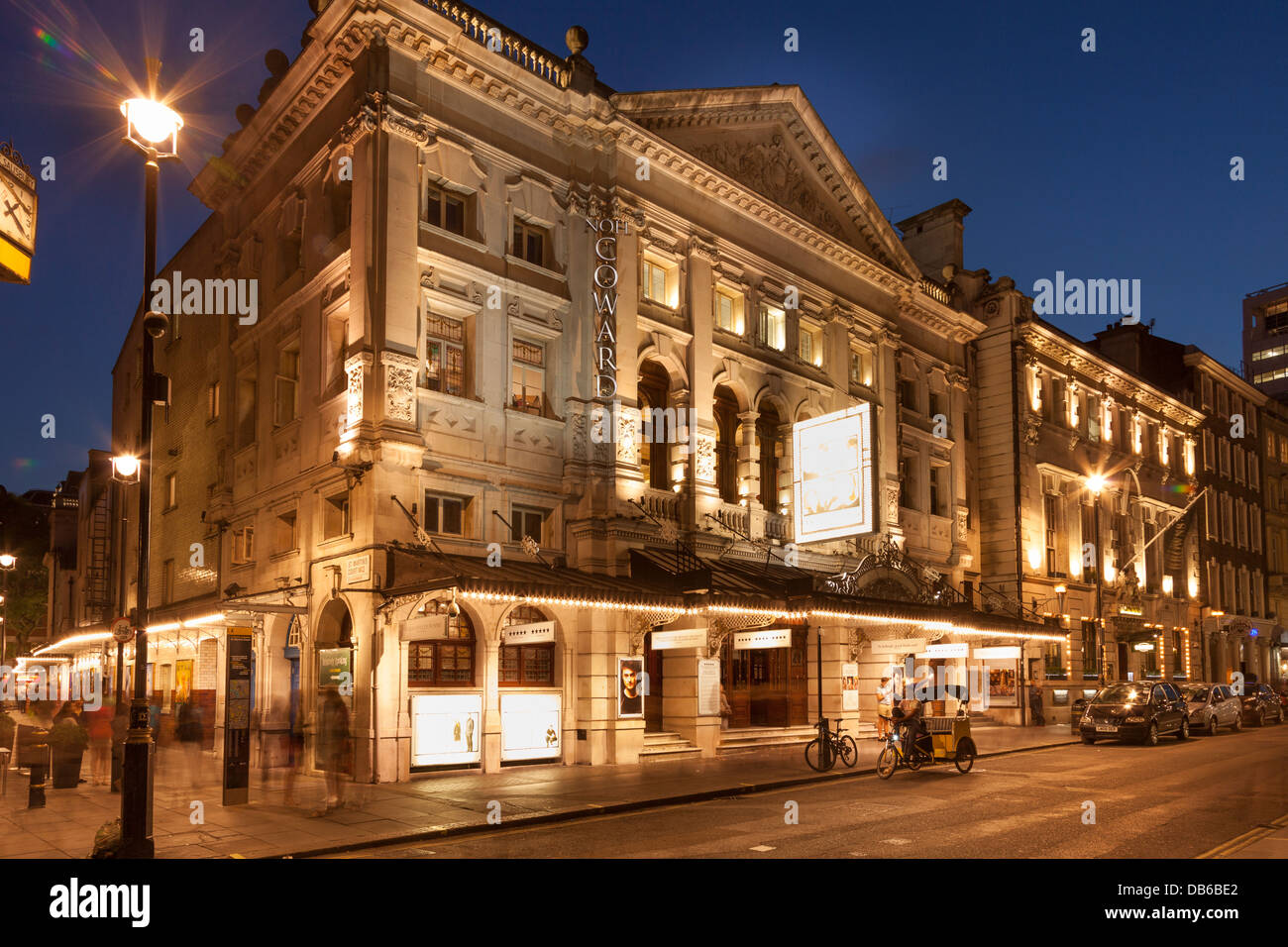 'Noel Coward Theatre' at night,St.Martin's street,London,England - Stock Image