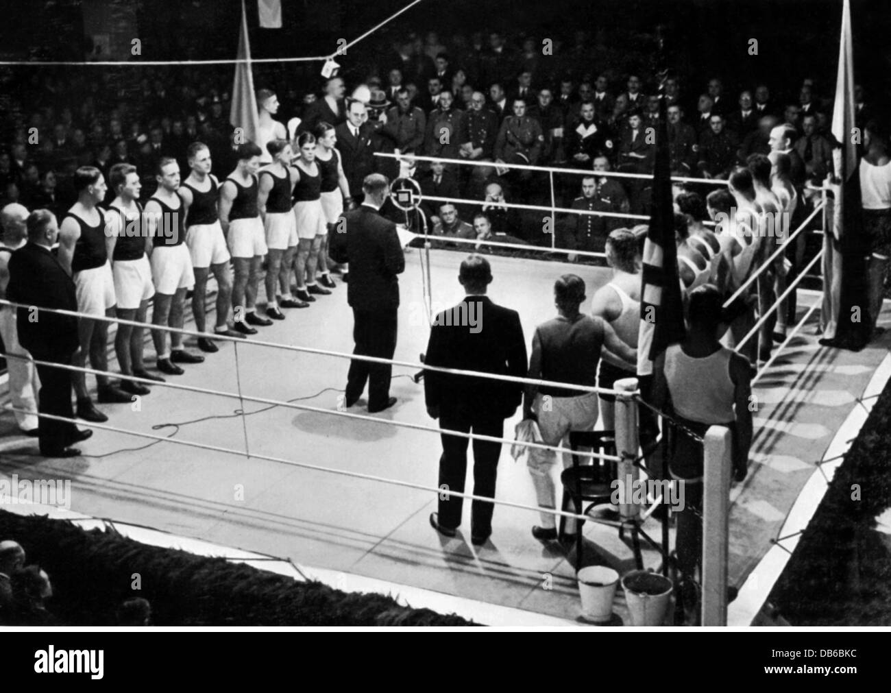 sports, boxing, competition Germany versus Poland, Essen, 1936, Additional-Rights-Clearences-NA - Stock Image
