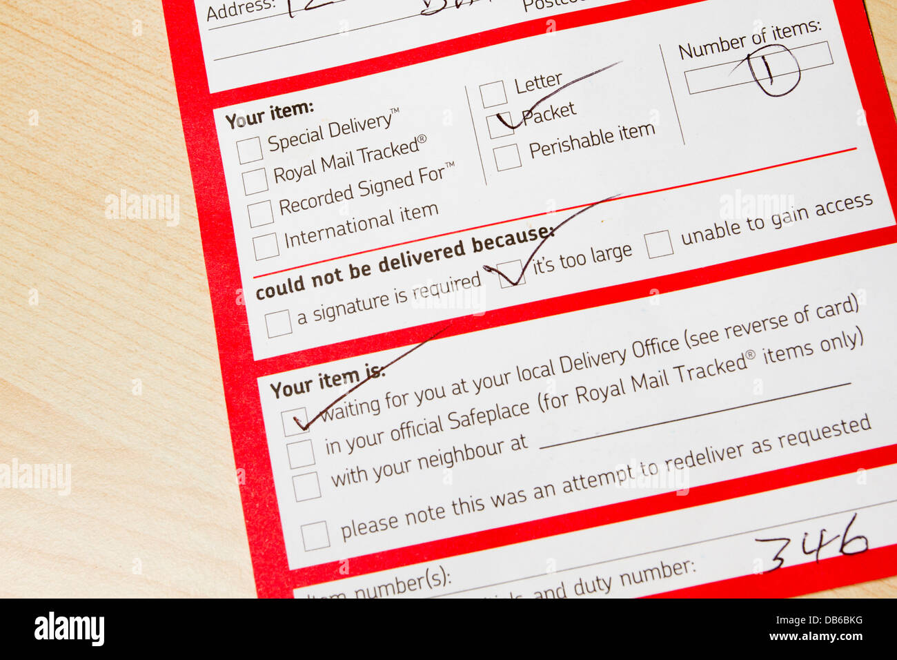 Royal Mail, while you were out missed delivery card/note, England, UK - Stock Image