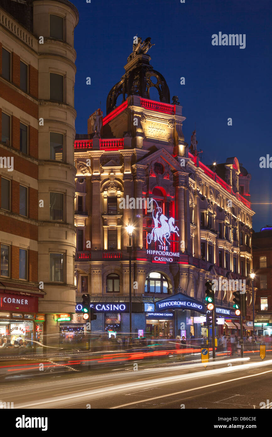 The Hippodrome Casino on Leicester Square at night,London,England - Stock Image