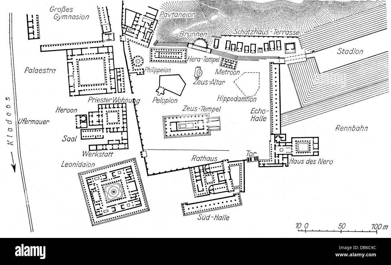 geography travel Greece Olympia site plan of the holy district – Travel Sites With Payment Plans