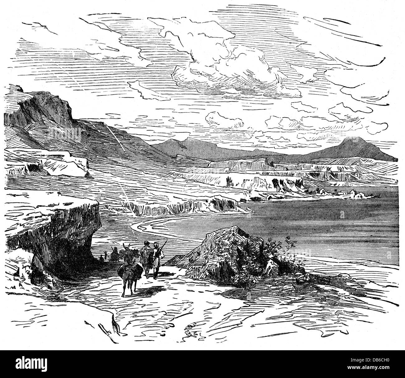 geography / travel, Greece, landscapes, Peloponnese, coast at the gulf of Corinth, wood engraving after drawing - Stock Image