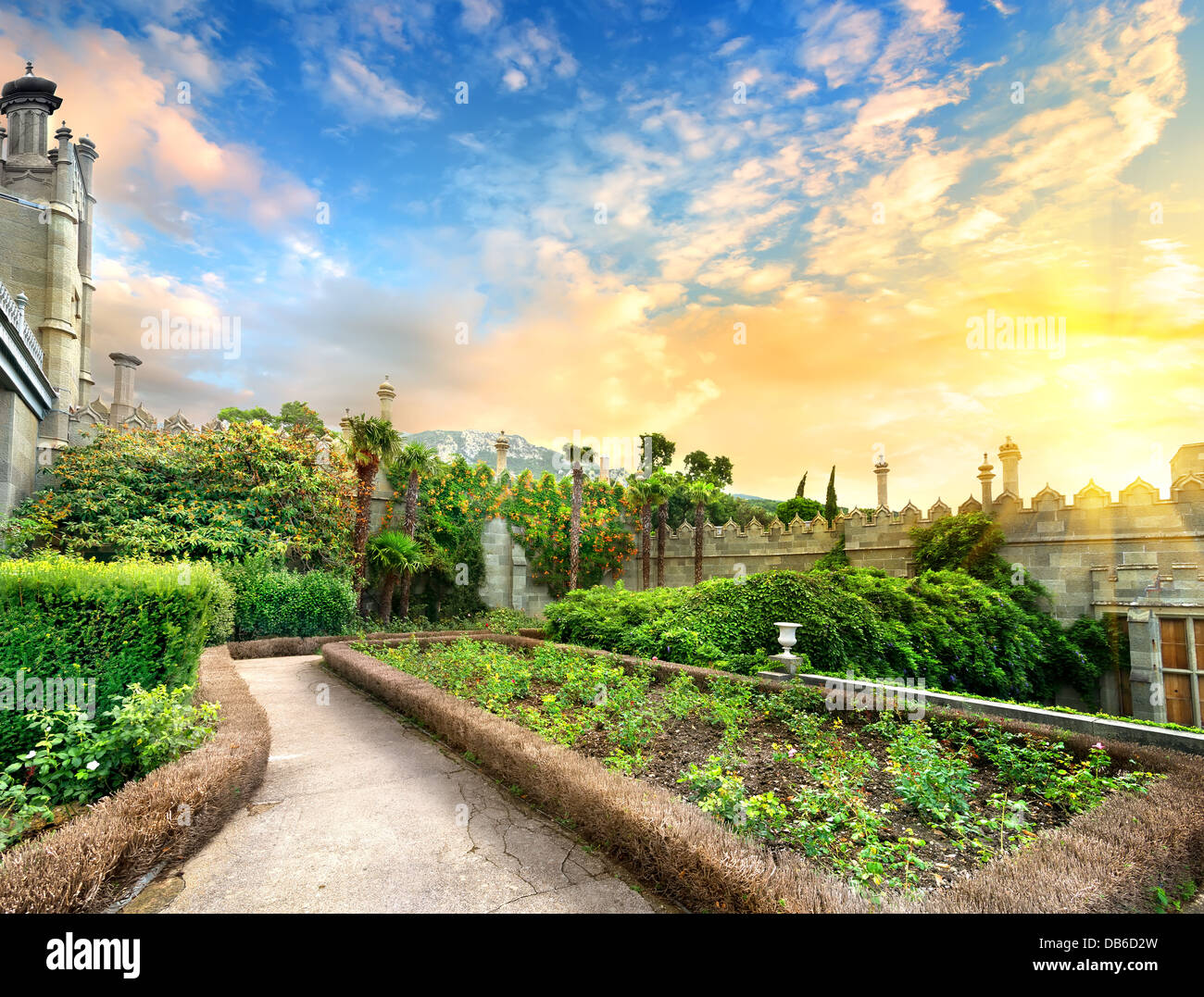 Vorontsov garden in the town of Alupka, Crimea - Stock Image