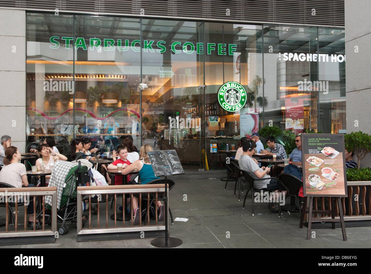 Starbucks at Tung Chung Lantau Island Hong Kong China - Stock Image