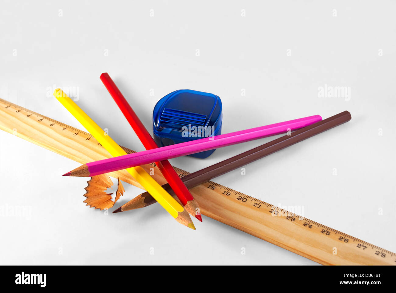 Stationery for drawing on a white background. - Stock Image