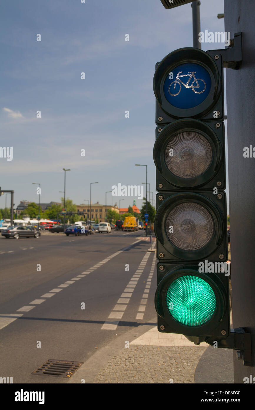 Traffic light for cyclists, bicycle light turns green Stock Photo