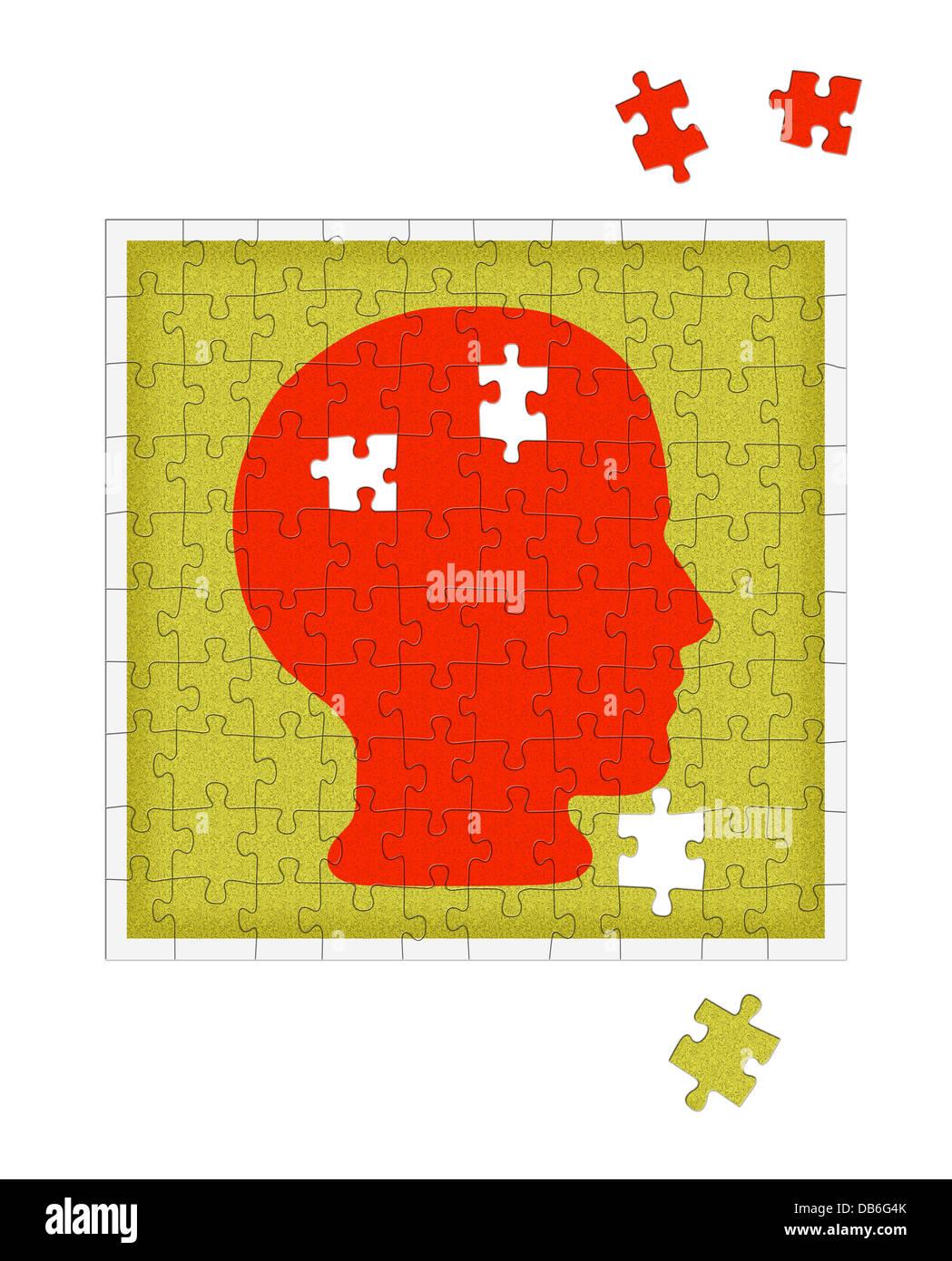 Mental health jigsaw - concept - Stock Image
