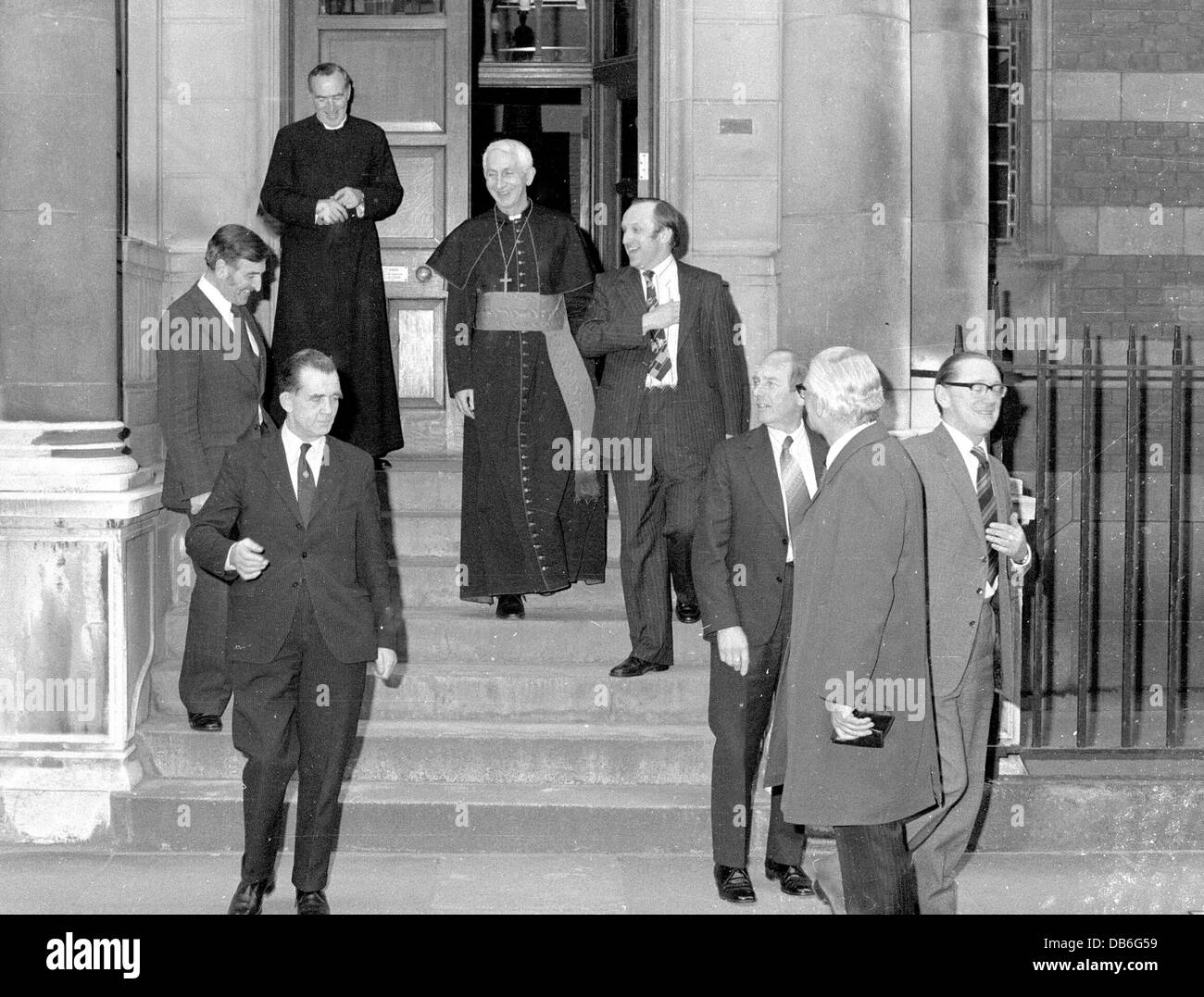 The Knights of Columbus are seen off by Cardinal Hume following a reception at Archbishops House Westminster London - Stock Image