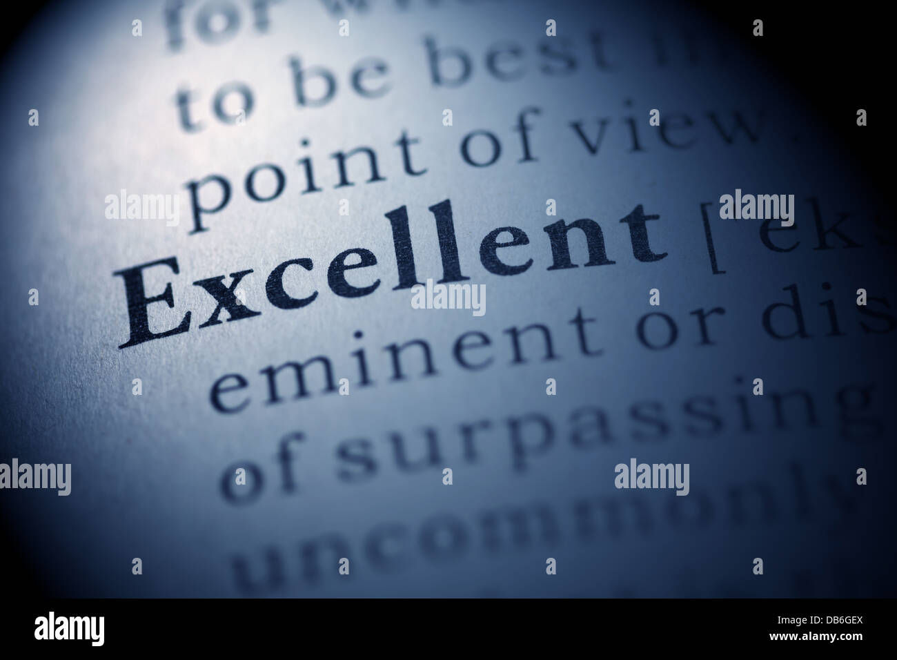 Fake Dictionary, Dictionary definition of the word Excellent. - Stock Image