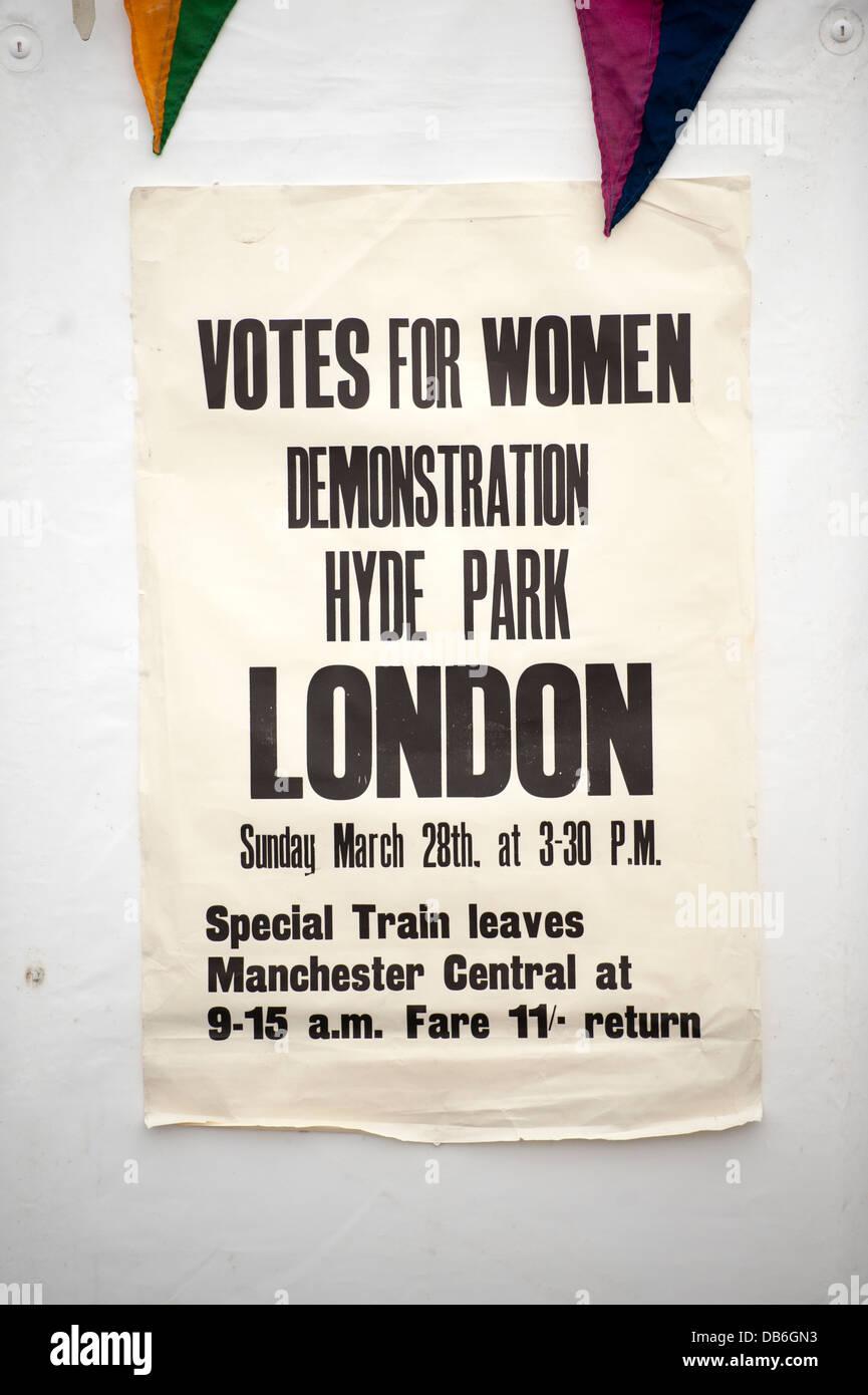 suffragette poster advertising votes for women demonstration hyde park london - Stock Image