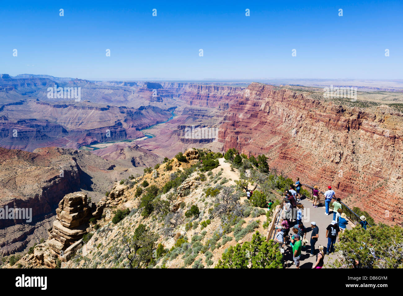 Tourists at Desert View Watchtower Lookout, South Rim, Grand Canyon National Park, Arizona, USA - Stock Image