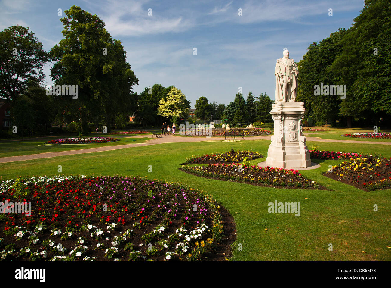 Beacon Park with statue of King Edward VII, Lichfield, Staffordshire, England, UK - Stock Image