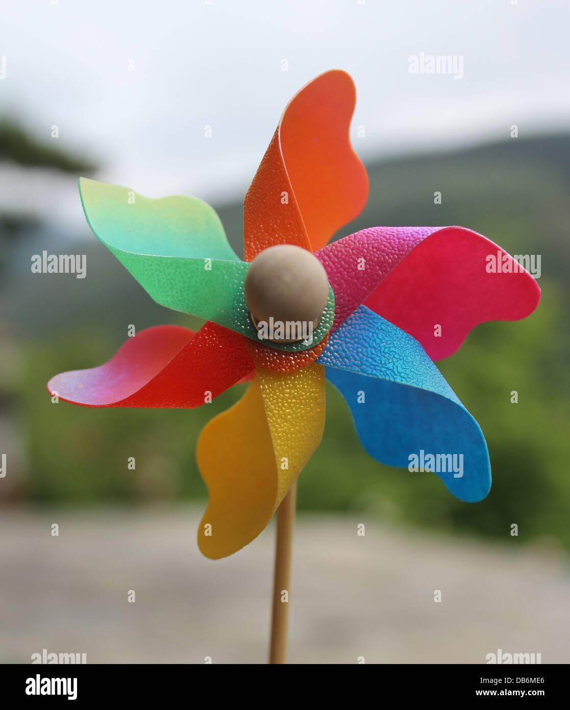 a beautiful and multi-colored pinwheel - Stock Image