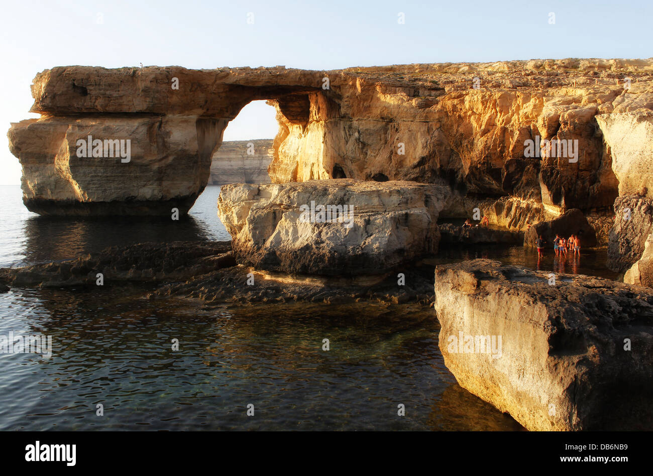 View of the natural arch high rock formation Azure window in Dwejra bay in the island of Gozo, the sister island Stock Photo