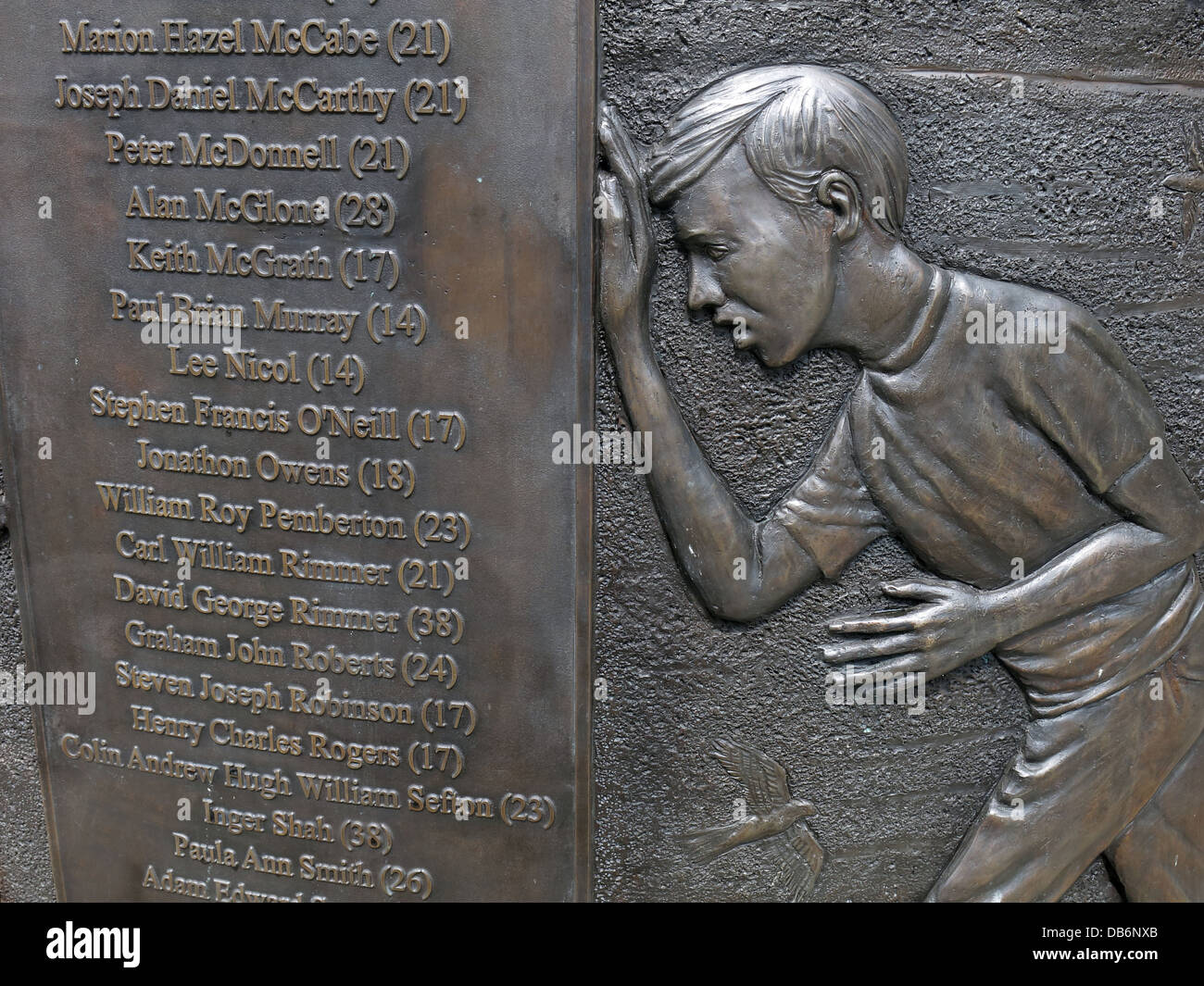 Detail from the 7 foot high circular bronze memorial in the Old Haymarket district of Liverpool - Stock Image