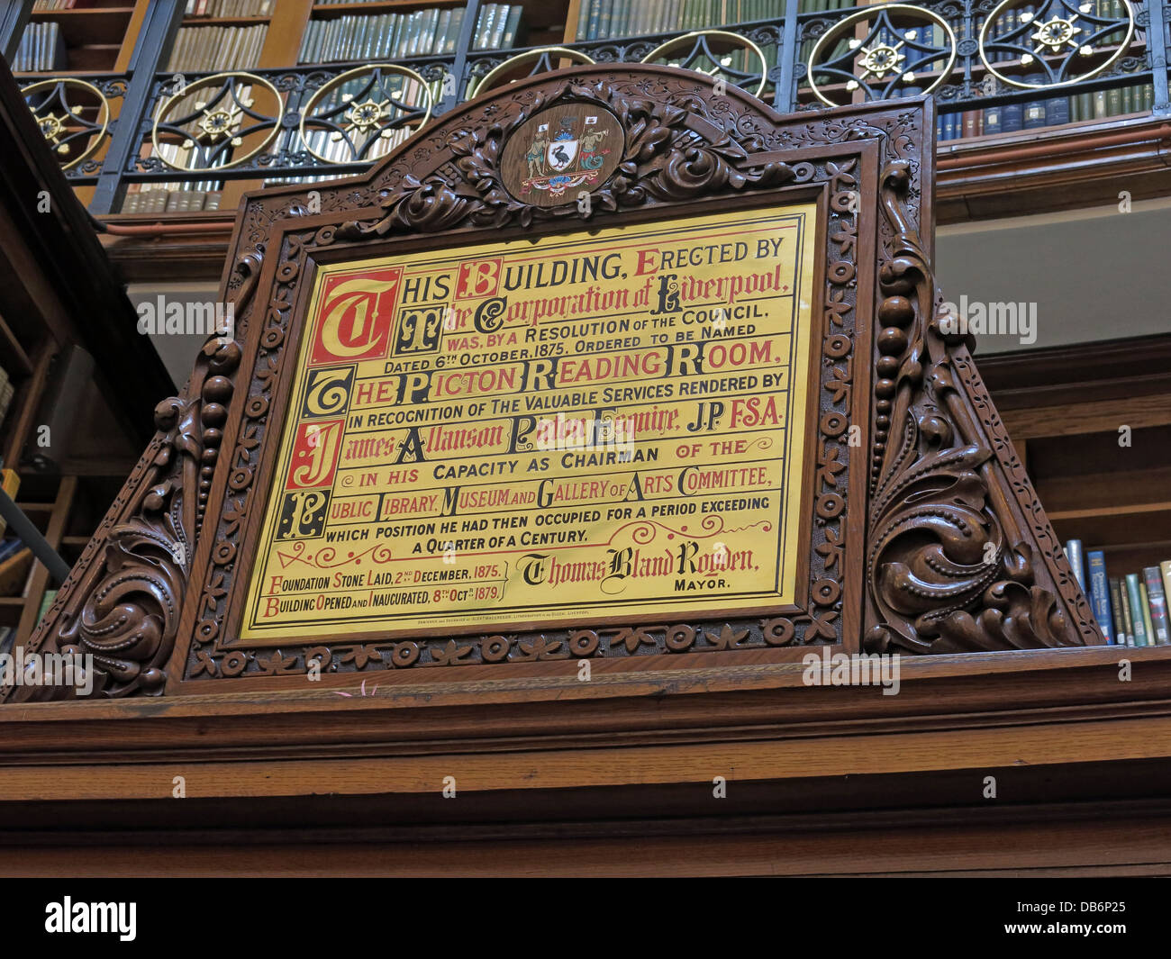 Plaque Picton reading Room Liverpool Library old - Stock Image