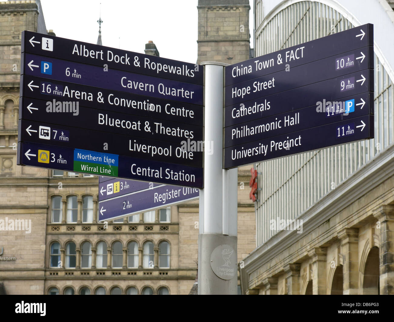 Sign showing Liverpool city centre tourist attractions, Merseyside, North West England, UK, L1 1JD - Stock Image