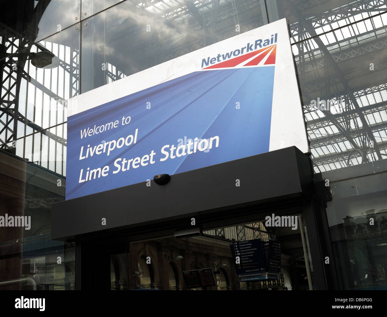 Welcome to Liverpool Lime Street Station sign from Network Rail in English city in front of canopy of mainline station Stock Photo