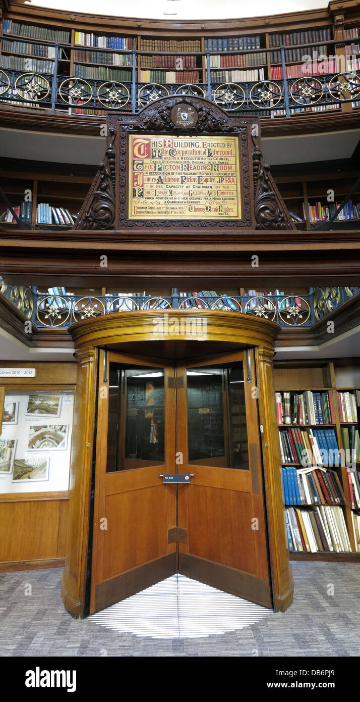 Liverpool Picton Library, revolving door, Merseyside, North west England, UK - Stock Image