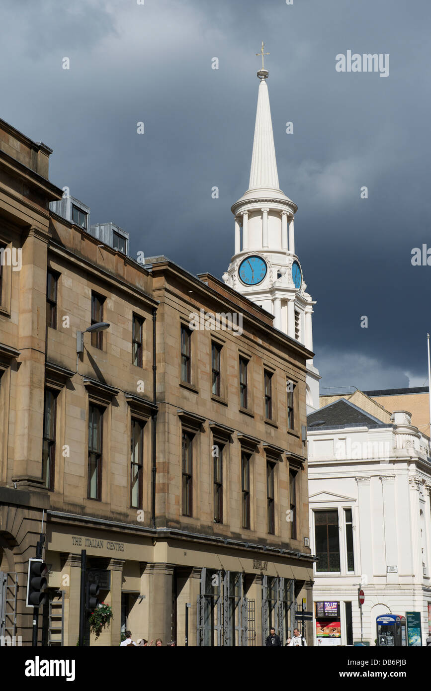 Ingram Street, Glasgow: the Italian Centre and Hutchieson's Hospital - Stock Image