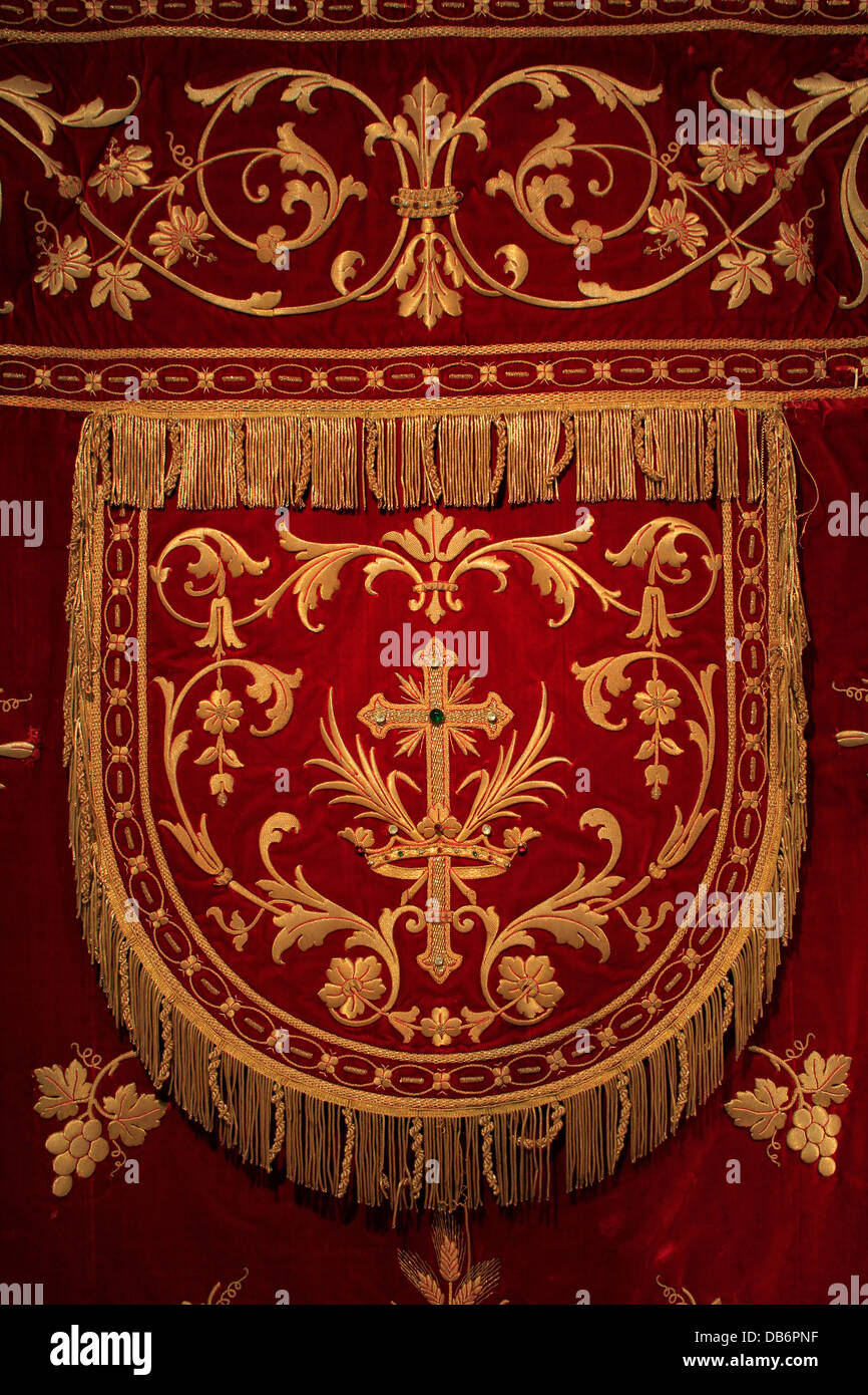 Rich church embroidery displayed in Il Hagar Museum in st Georges Square in  the city of Citta Victoria also known among the native Maltese as Rabat on  the ...