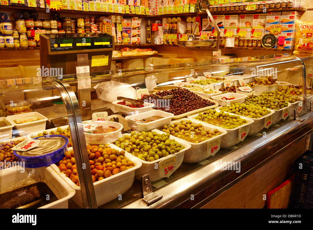 38bf81aa9ad fresh olives for sale inside the la boqueria market in Barcelona Catalonia  Spain