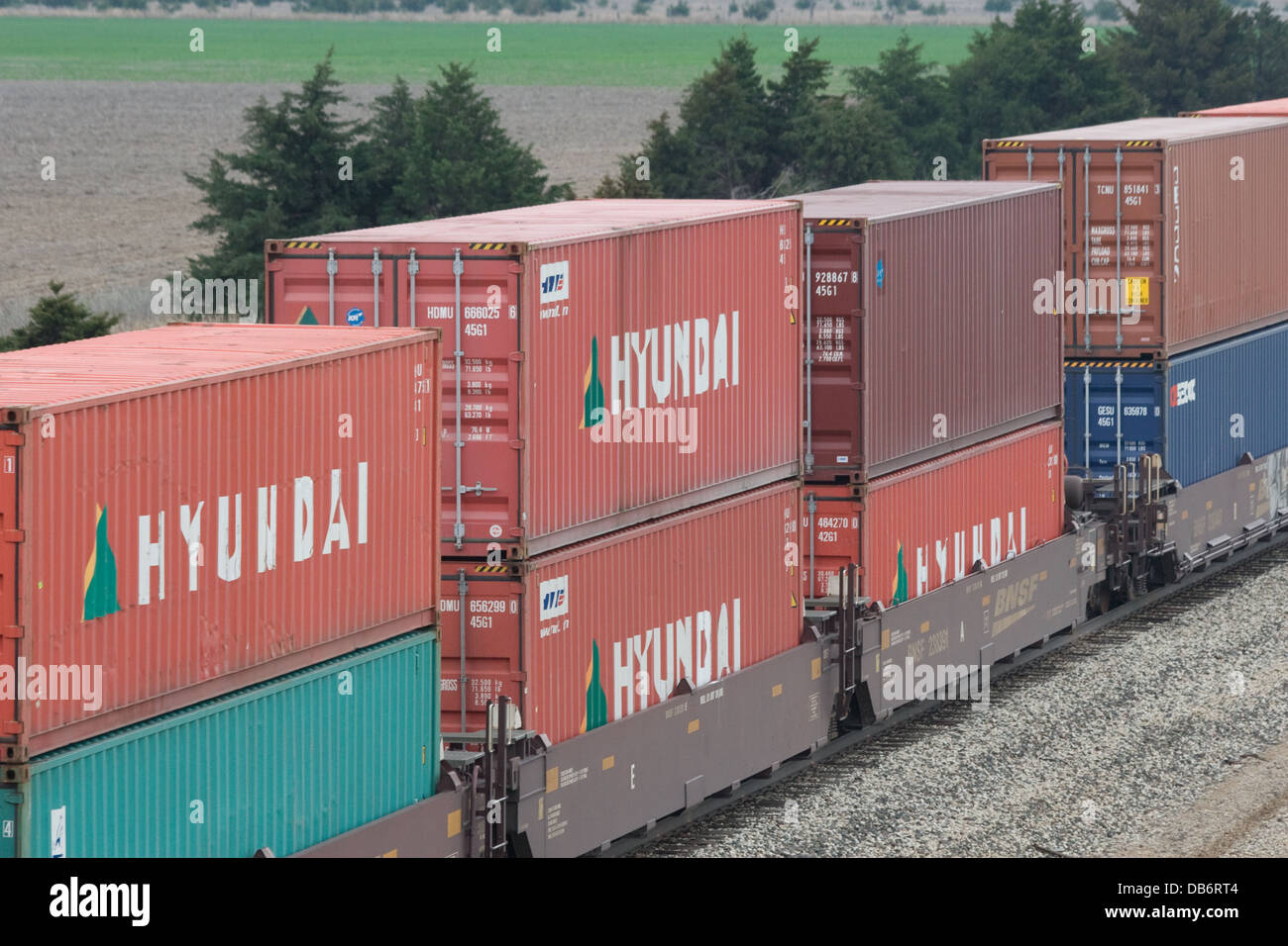 Hyundai intermodal freight containers on BNSF freight ...