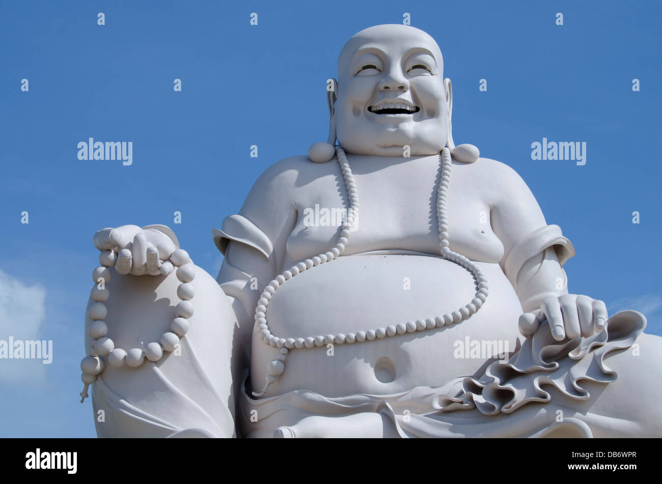 Vietnam, My Tho, Mekong Delta river area. Vinh Trang Pagoda complex, Big Happy Buddha statue (Nam Mo duong Lai Di - Stock Image