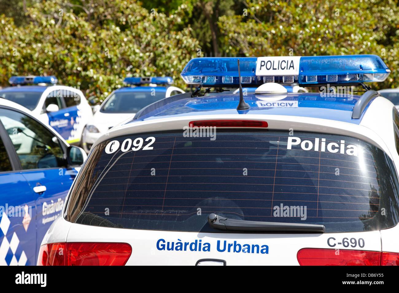 policia guardia urbana patrol cars Barcelona Catalonia Spain - Stock Image