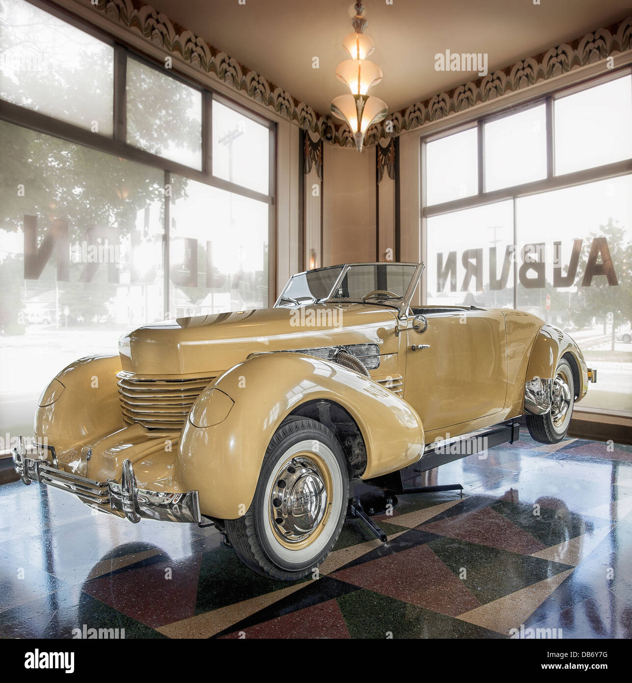 A 1937 Cord 812 Sportsman SC on display at The Auburn Cord Duesenberg  Museum in Auburn Indiana - Stock Image