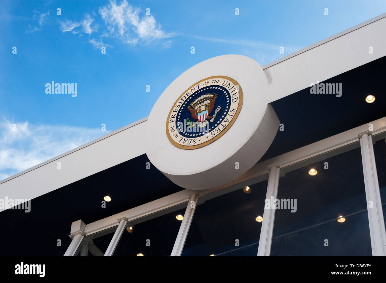 United States Presidential inauguration viewing stand with Presidential Seal, in Washington DC. Stock Photo