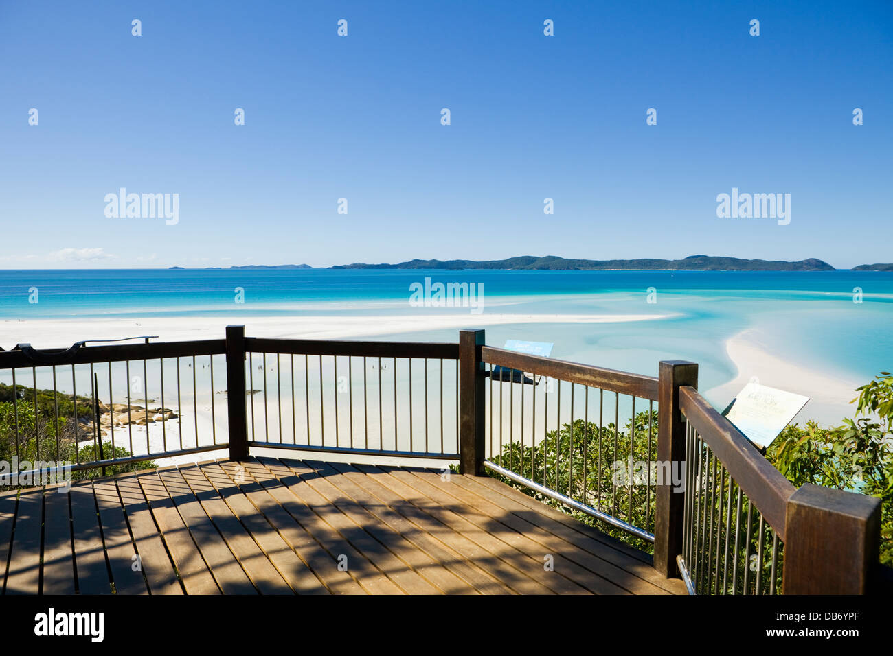 Lookout overlooking scenic Hill Inlet and Whitehaven Beach. Whitsunday Island, Whitsundays, Queensland, Australia - Stock Image