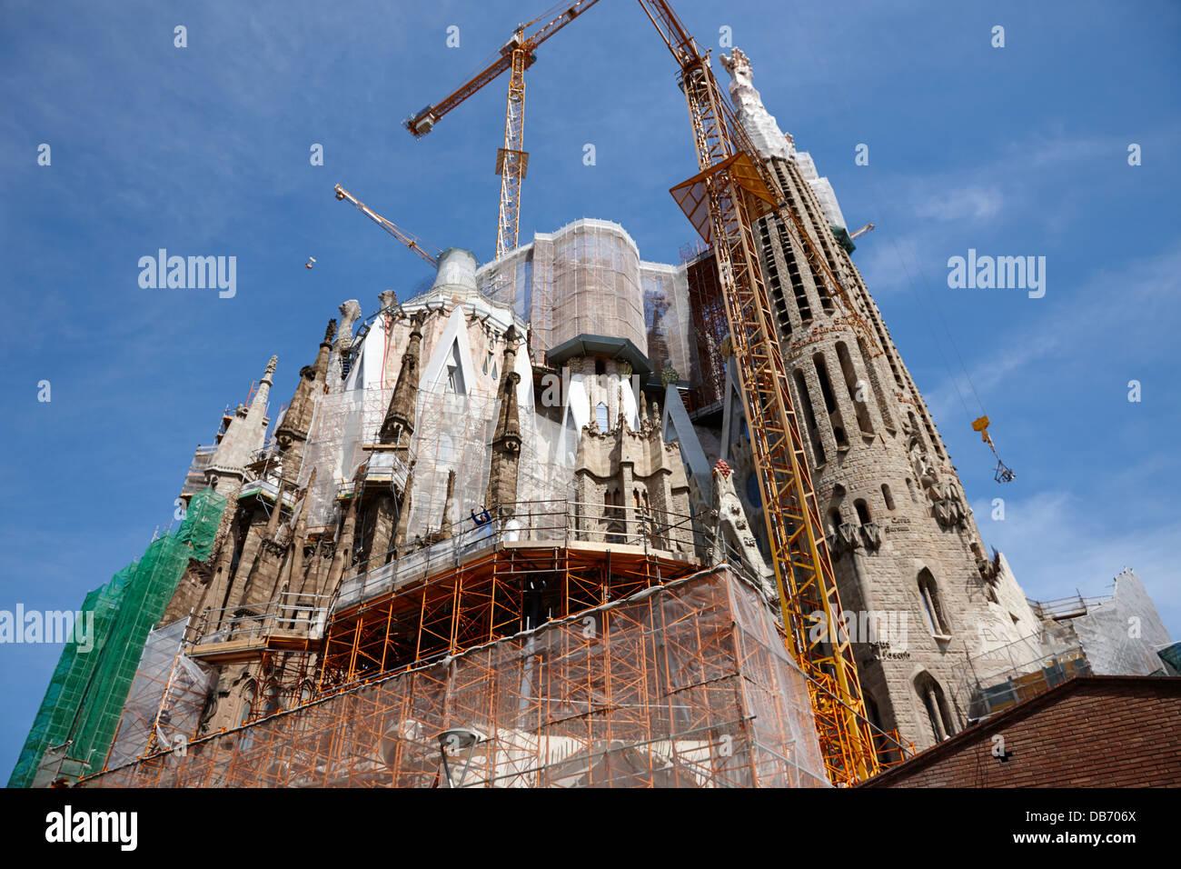 scaffolding and cranes above Sagrada Familia Barcelona Catalonia Spain - Stock Image