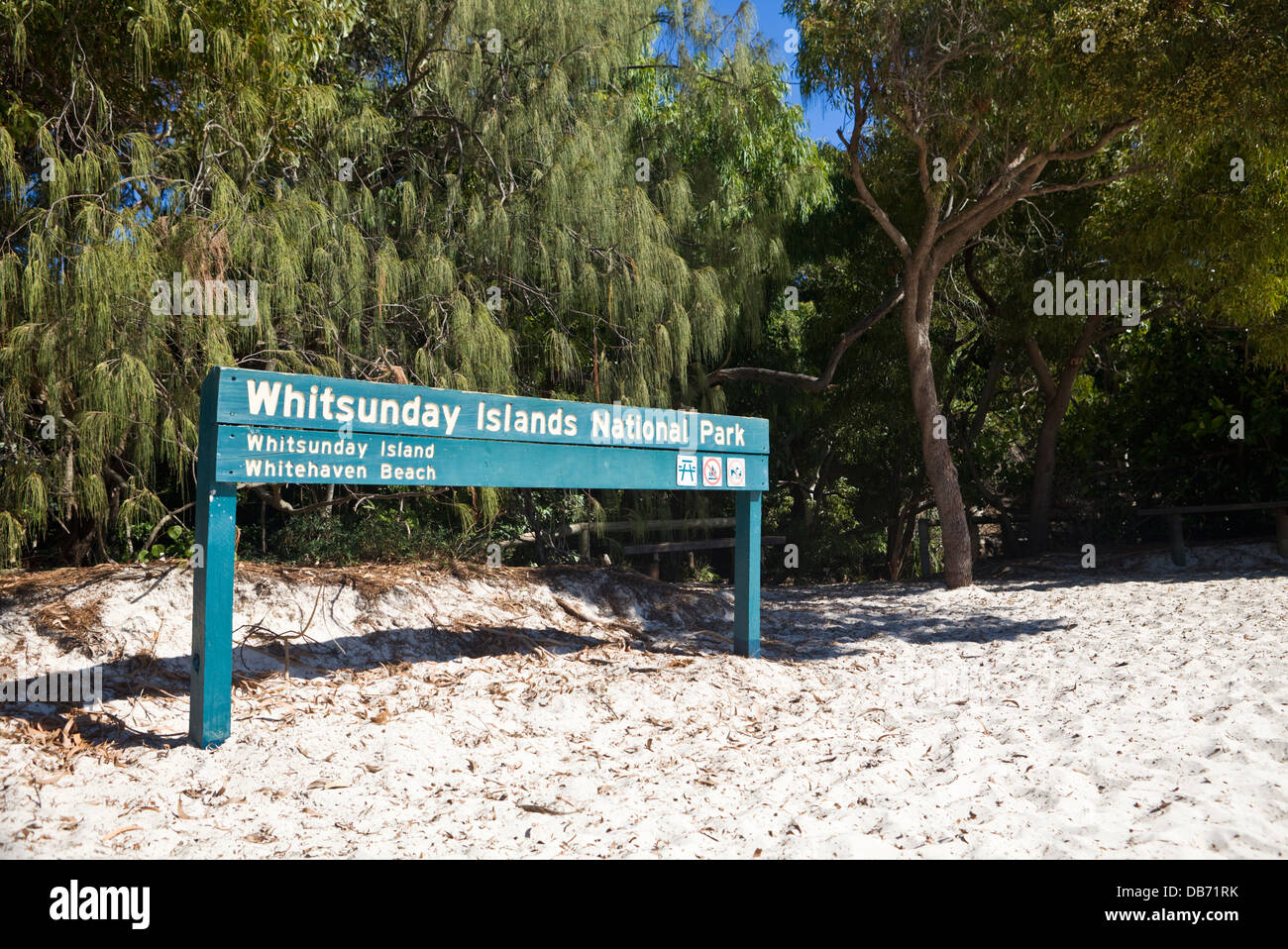 Sign on Whitehaven Beach in Whitsunday Islands National Park. Whitsundays, Queensland, Australia - Stock Image