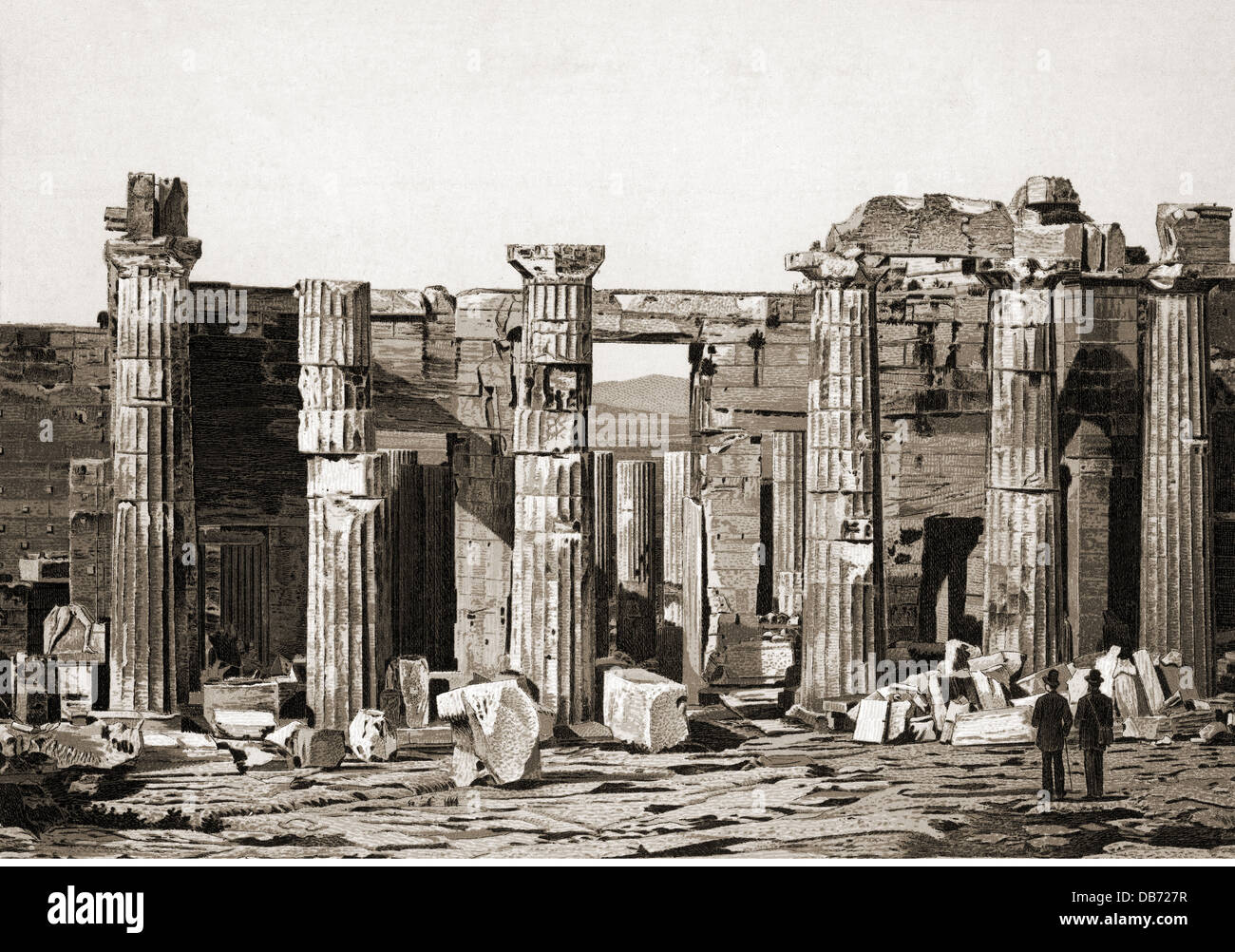 geography / travel, Greece, Athens, acropolis, Propylaea, eastern side, drawing, late 19th century, column, columns, Stock Photo