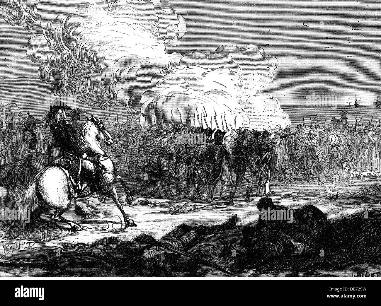 events, War in the Vendée 1793 - 1796, skirmish between Republican troops and insurgents, 1793, wood engraving, Stock Photo