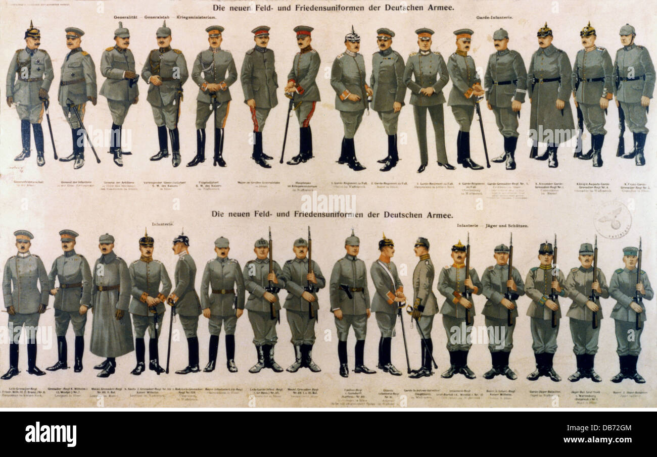 military, Germany, army, new field and peace uniforms, September 1915, Additional-Rights-Clearences-NA Stock Photo