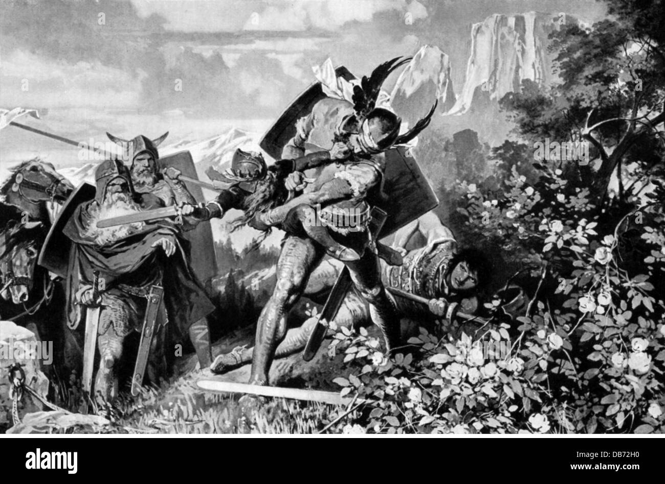 literature, legends, Nordic sagas, Dietrich von Bern, defeats Laurin in the rose garden, after painting by Carl - Stock Image