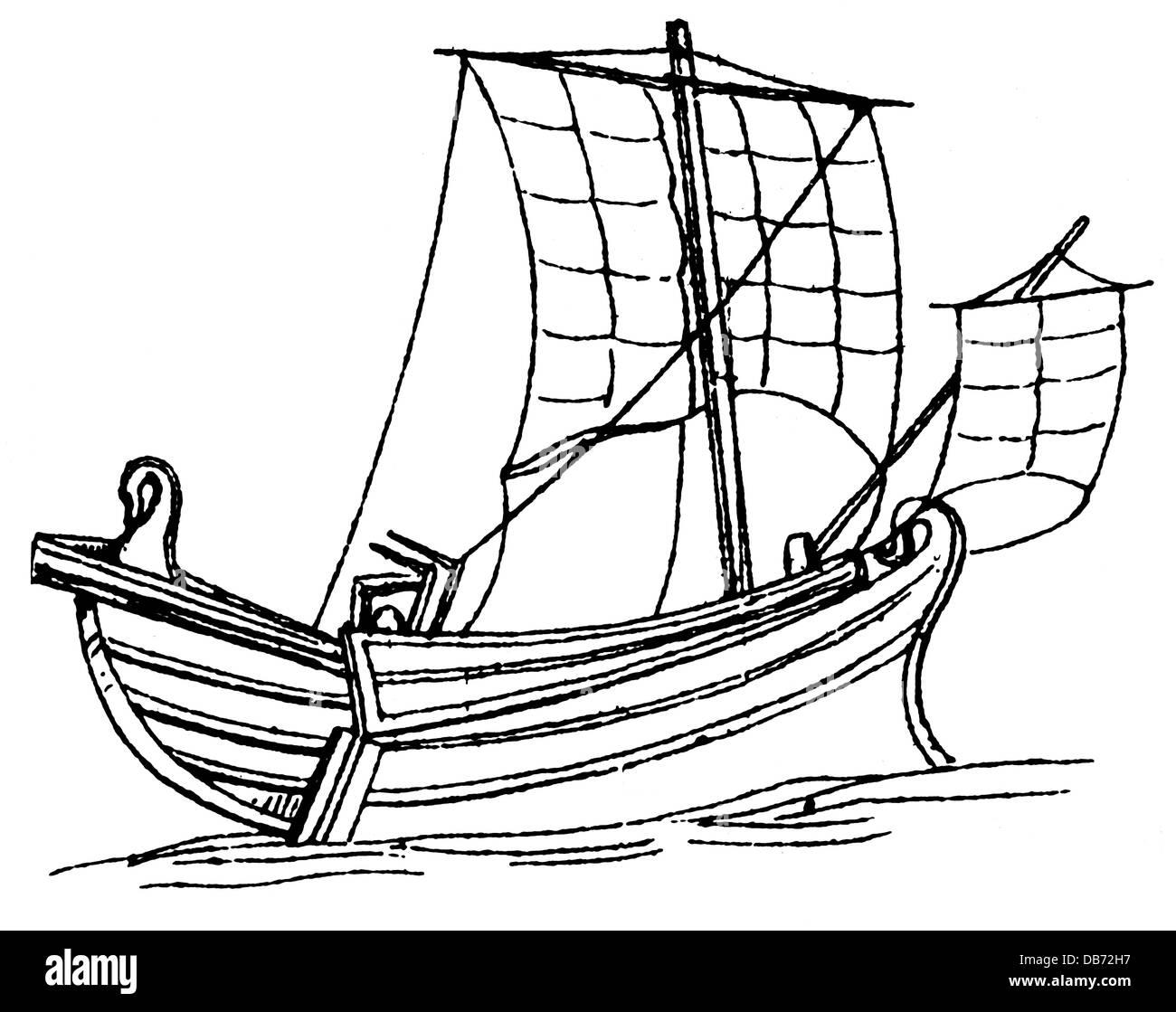 transport / transportation, navigation, sailing ships, merchant ship from Byblos, circa 1000 - 500 BC, wood engraving, - Stock Image