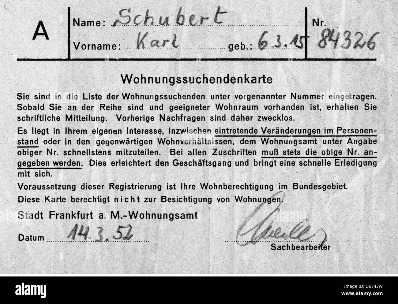 post war period, misery and hardship, Germany, housing shortage, accommodation search card of Karl Schubert, housing - Stock Image