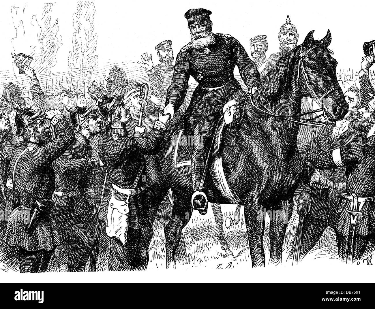 Austro-Prussian War 1866, combat at Aschaffenburg, 14.7.1866, Prussian general Eduard Vogel von Falckenstein with - Stock Image