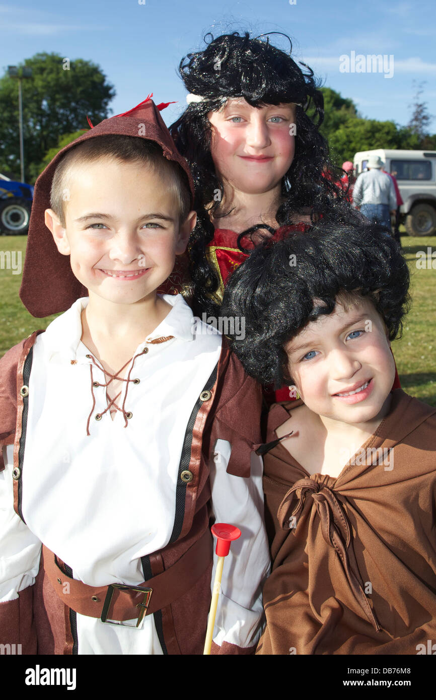 Celebrating the 2013 St Tudy Carnival are Robin Hood, Little John and Friar Tuck - Stock Image