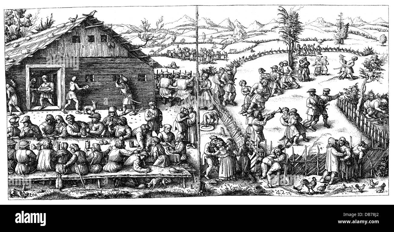 festivities, public festival, rural festival, peasants feasting and dancing, 15th / 16th century, wood engraving, - Stock Image