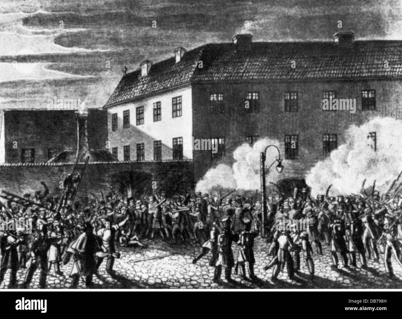 Polish uprising 1830 - 1831, insurgents storming the prison in Warsaw,  November 1831, contemporary aquatint by F. K. Dietrich, Poland, November  Uprising, ...