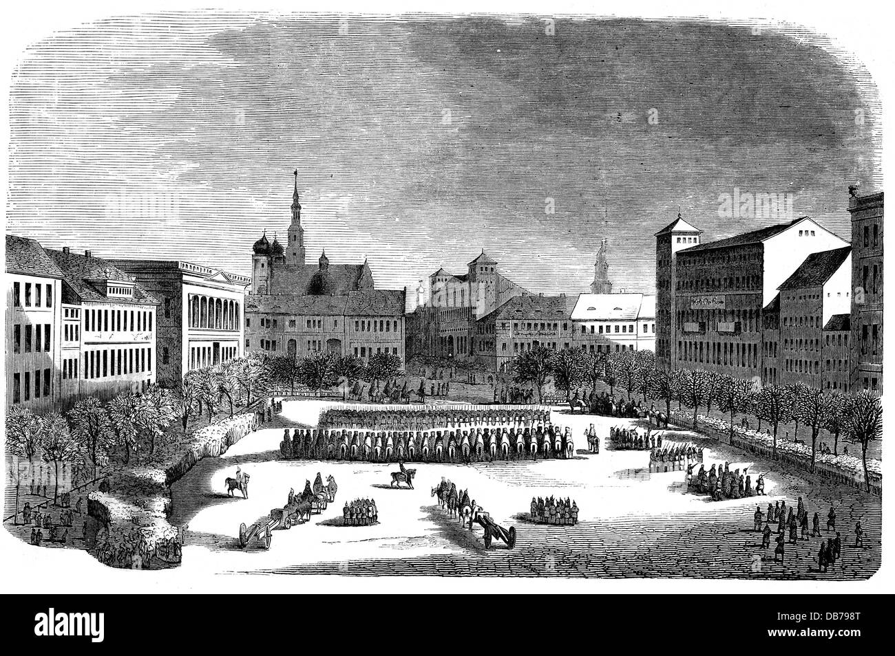 Greater Poland uprising 1846, seizure of the Wilhelmsplatz by Prussian troops, Poznan, 14.2.1846, Poland, Kingdom - Stock Image